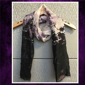 Talbots NWOT Purple & Black Floral Silk Scarf